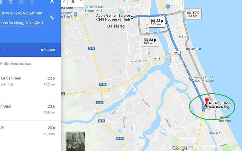 Marble mountain Da Nang map